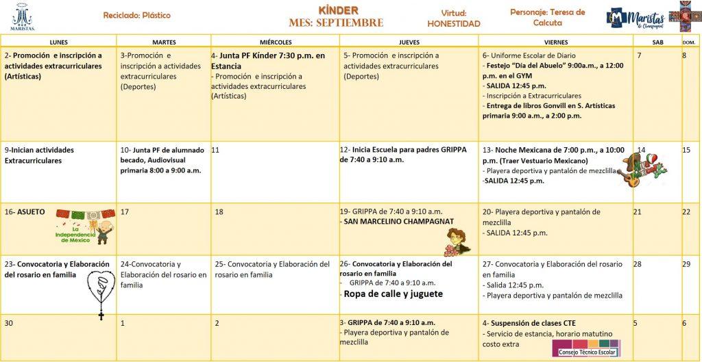 Calendario Para Kinder.Kinder Calendario De Actividades
